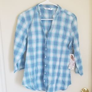 Lee blue and purple plaid button down shirt